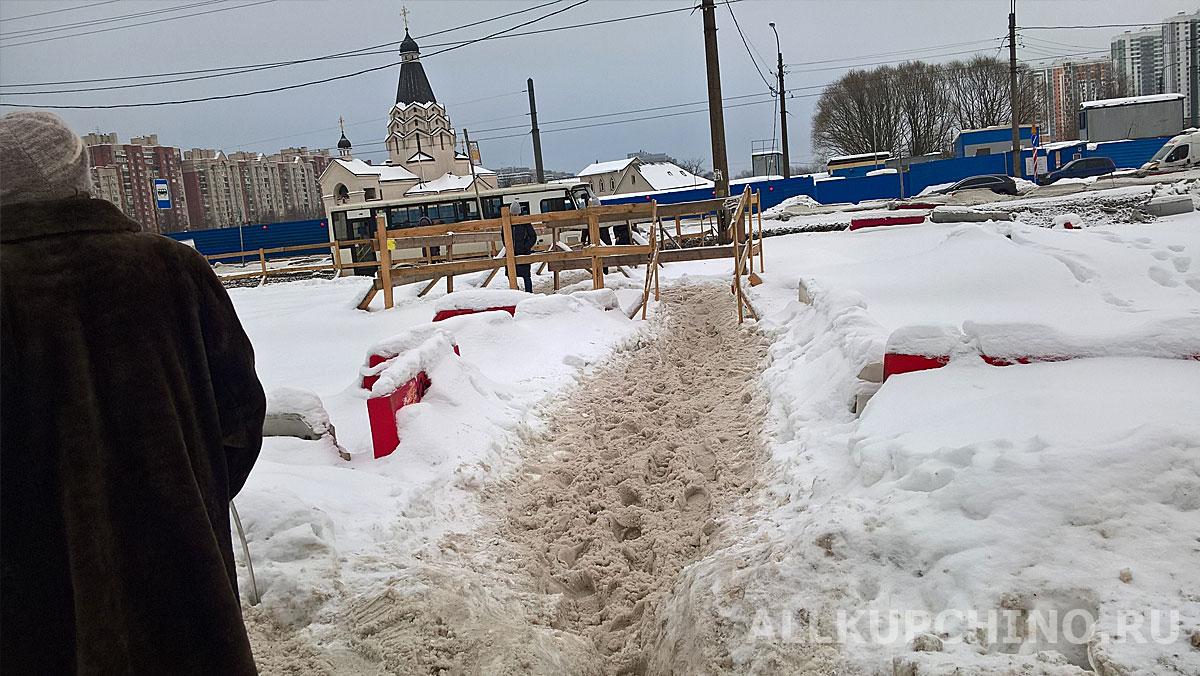 Фрунзенский район – позор Петербурга: грязь, гололед и сугробы по колено